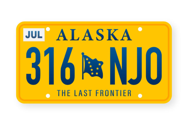 Alaska yellow license plate